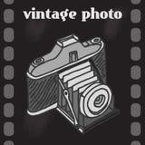 葡萄酒照相机海报 库存图片