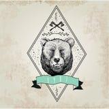 葡萄酒熊商标 免版税库存照片