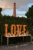 葡萄酒爱电灯泡标志装饰的婚姻的情人节 库存图片