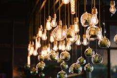 葡萄酒爱迪生电灯泡,特写镜头 库存照片