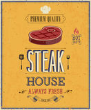 葡萄酒牛排餐厅海报。 图库摄影