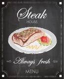 葡萄酒牛排餐厅菜单海报设计,黑板背景, f 免版税库存照片