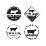 葡萄酒牛 牛排餐厅/牛肉商标设计启发 格栅餐馆象征-传染媒介 皇族释放例证