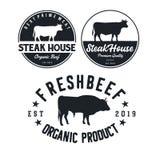 葡萄酒牛 牛排餐厅/牛肉商标设计启发 格栅餐馆象征-传染媒介 向量例证