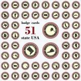 葡萄酒状态美国徽章卡片  免版税库存照片