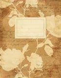 葡萄酒玫瑰花卉笔记本盖子 库存照片