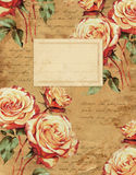 葡萄酒玫瑰花卉笔记本盖子 免版税库存照片