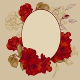 葡萄酒玫瑰长圆形框架 免版税库存图片