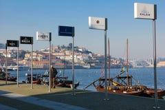 葡萄酒生产商广告牌。波尔图。葡萄牙 免版税库存图片