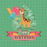 葡萄酒生日与长颈鹿的贺卡 免版税库存图片
