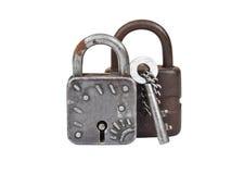 葡萄酒生锈的锁和钥匙 库存图片