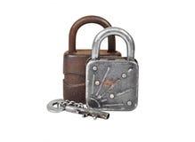 葡萄酒生锈的锁和钥匙 图库摄影