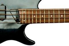 葡萄酒电低音吉他被隔绝在白色背景 库存图片