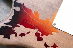 葡萄酒电吉他身体细节  免版税库存照片