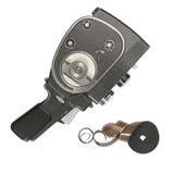 葡萄酒电影摄影机和16 mm影片小条 图库摄影