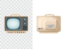 葡萄酒电视机的传染媒介例证 前面,背面图 电视设备 减速火箭的电视频显示器,被隔绝的对象 免版税库存照片