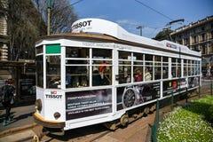 葡萄酒电车在米兰意大利 免版税库存照片