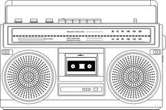 葡萄酒盒式带录音机,少数民族居住区爆裂药boombox 向量例证
