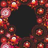 葡萄酒破旧的别致的红色橙色花和叶子在黑背景 春天浪漫装饰圆的框架,花圈卡片设计, 向量例证