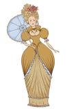 葡萄酒礼服的美丽的妇女有在巴洛克式的样式的伞的 皇族释放例证