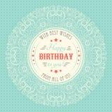 葡萄酒祝生日快乐Card.Illustration EPS10 印刷术信件 免版税库存图片