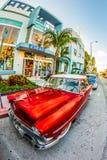 葡萄酒福特停车场在艺术装饰区在迈阿密佛罗里达 免版税库存照片