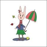 葡萄酒秋天卡片用逗人喜爱的兔子 图库摄影