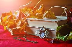 葡萄酒秋天静物画-与时钟的旧书在干燥槭树附近离开 免版税库存照片