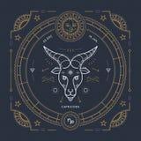 葡萄酒稀薄的线山羊座黄道带标志标签 减速火箭的传染媒介占星术标志,神秘主义者,神圣的几何元素,象征 库存例证