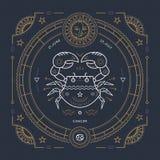 葡萄酒稀薄的线巨蟹星座黄道带标志标签 减速火箭的传染媒介占星术标志,神秘主义者,神圣的几何元素,象征 向量例证