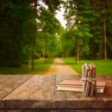 葡萄酒笔记本和堆在木纹理桌上的木五颜六色的铅笔在乡下森林视图前面 免版税图库摄影