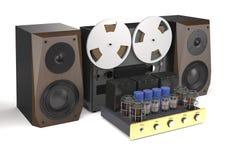 葡萄酒管放大器、卷轴录音机和扩音器3d 免版税库存图片