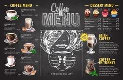 葡萄酒粉笔画咖啡菜单设计 快餐菜单 库存例证