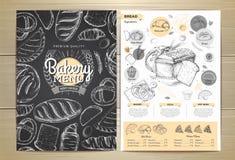 葡萄酒粉笔画面包店菜单设计 图库摄影