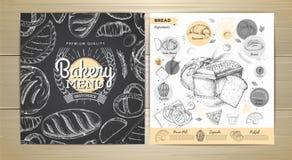 葡萄酒粉笔画面包店菜单设计 免版税图库摄影