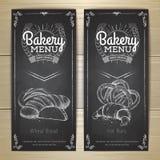 葡萄酒粉笔画面包店菜单设计 库存图片