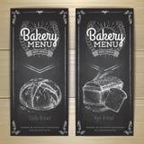 葡萄酒粉笔画面包店菜单设计 免版税库存照片
