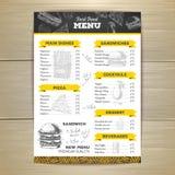 葡萄酒粉笔画快餐菜单设计 向量例证