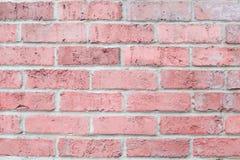 葡萄酒粉红彩笔颜色水平的砖墙 设计的背景 免版税库存照片