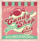 葡萄酒糖果商店的海报模板。 免版税库存图片