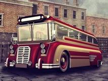 葡萄酒红色公共汽车 向量例证