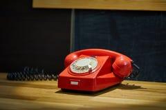 葡萄酒红色电话 库存照片