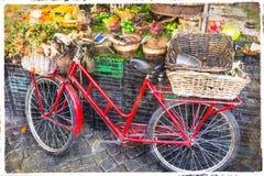 葡萄酒红色自行车在水果市场上 免版税库存图片