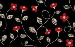 葡萄酒红色花和叶子样式 皇族释放例证