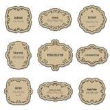 葡萄酒纸板框架和标号组 图库摄影