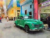 葡萄酒经典汽车在哈瓦那 库存图片