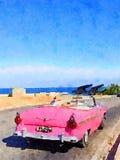 葡萄酒经典汽车在哈瓦那 库存照片
