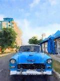 葡萄酒经典汽车在哈瓦那 图库摄影