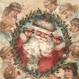 葡萄酒维多利亚女王时代-圣诞节-霍莉-背景纹理-圣诞老人-孩子-数字纸-假日制作 向量例证