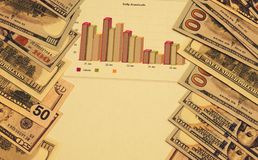 葡萄酒美元,经济日程表  免版税图库摄影